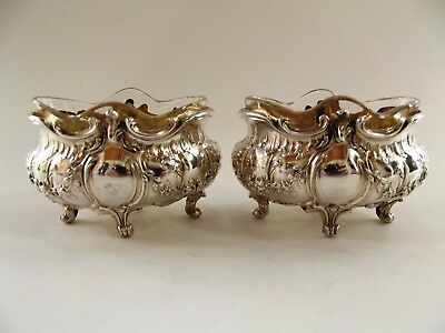 Pair Of Antique French Silver Open Salts With Matching Spoons Ref 251/3
