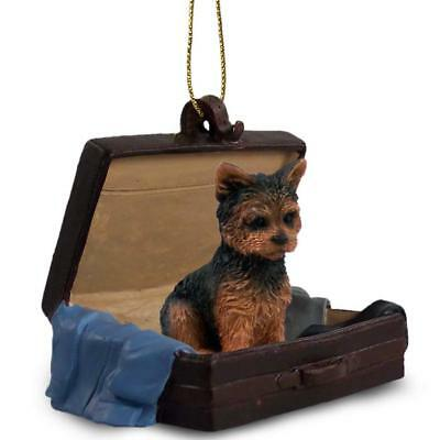 Yorkshire Terrier Sport Traveling Companion Dog Figurine In Suit Case Ornament