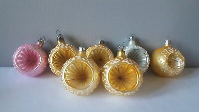 Vintage Lot of 7 Deep Indent Pastel Mica Border Christmas Ornaments Poland?