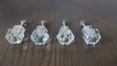 Antique Vintage Lot of 4 Clear Glass Six Sided Cabinet Knob Drawer Pulls
