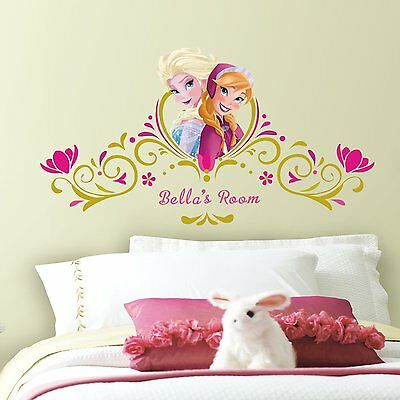 Frozen Anna Elsa Headboard Wall Decals Disney Princess Alphabet Room Stickers 48