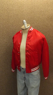 Vtg Red Satin Widbreaker Jacket by Chalk Line  YOUTH sz 18/20  Adult Small