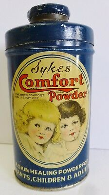 Vintage Sykes Comfort Powder Advertising Tin 3 oz Empty