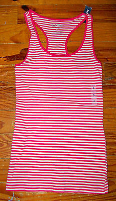New! Women's OLD NAVY Pink & White Stripe Cotton Tank Top Cami Casual Shirt