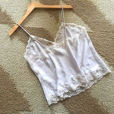 Vintage Christian Dior Sexy Lingerie Camisole White Jacquard & Lace Size Large