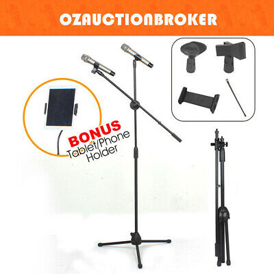 Telescopic Microphone Boom Stand Adjustable Mic Tablet iPad Holder 2 Clips Mount