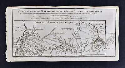 c 1750 Bellin Map - Course of the Maragnon & Amazon Rivers Brazil South America