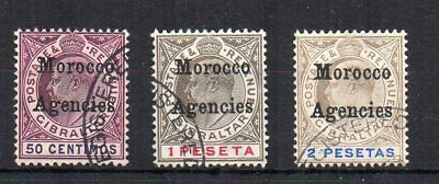 Morocco Agencies 1905 50c, 1p and 2p Gibraltar opt FU CDS