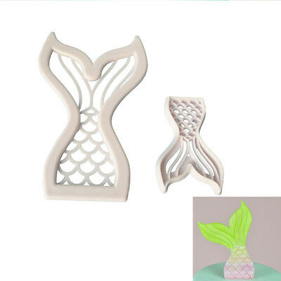 2x Fish Mermaid Tail Shape Cookie Cutter Fondant Cake Sugarcraft Mold Decor Tool