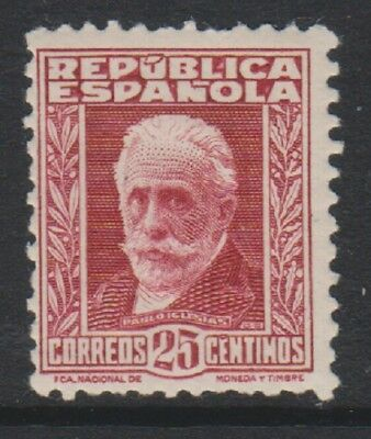 Spain - 1932, 25c Deep Lake stamp with Blue figures on back - L/M - SG 734A