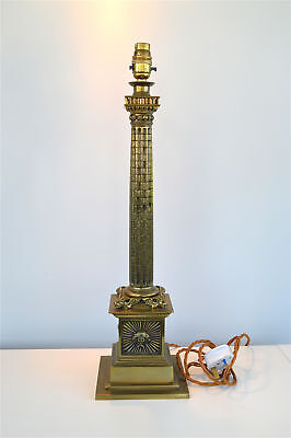Superb quality large antique Victorian brass column table lamp circa.1890