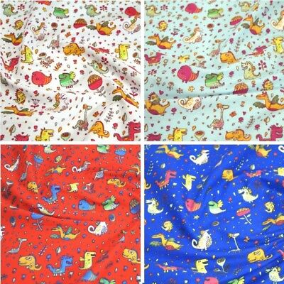 Polycotton Fabric Dinosaurs & Dragons, Floral Flowers Material