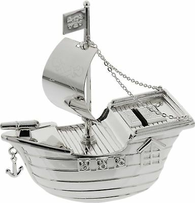 Bambino SILVER PLATED MONEY BOX PIRATE SHIP Baby Shower Christening Gift BN