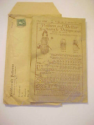 1919 Antique Edwardian Jr Girls Dress Pattern 8yrs Deltor Butterick #3094