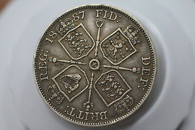 Uk Gb Double Florin 1887 Victoria Nice Details A77 #k3644