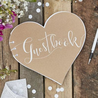 Rustic Kraft Chic Heart Shaped Wedding Day Guestbook - Rustic Country