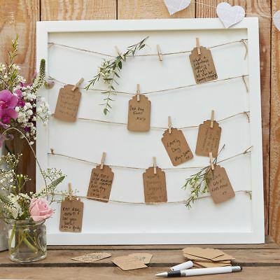 Wooden Peg & String & Tag Frame Alternative Guest Book Table Plan Rustic Country
