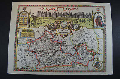 Vintage decorative sheet map of Barkshire Berkshire Windsor John Speede 1610