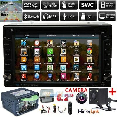 "6.2"" Touch Screen Bluetooth 2Din Android 6.1 Car Stereo CD DVD MP5 Player+Camera"