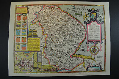 Vintage decorative sheet map of Lincolnshire Lincoln John Speede 1610
