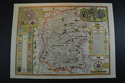 Vintage decorative sheet map of Wiltshire Salisbury John Speede 1610