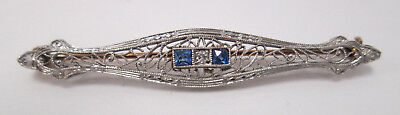 Estate Jewelry 14k Two Ton gold Vintage Sapphire & Diamond Brooch Pin