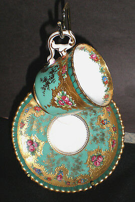 (Tiffany & Co) Gorgeous Vintage Antique Gold Painted Cup + Saucer Beautiful