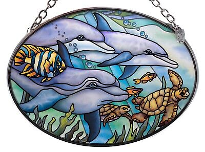 "Dolphins Sea Turtles Hand Painted Glass Suncatcher By AMIA Studios 4.5"" x 3.25"""