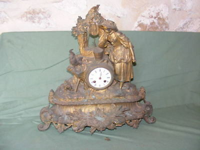 Large pendulum in controls golden of the XIX°, to restore, pattern farmer's wife