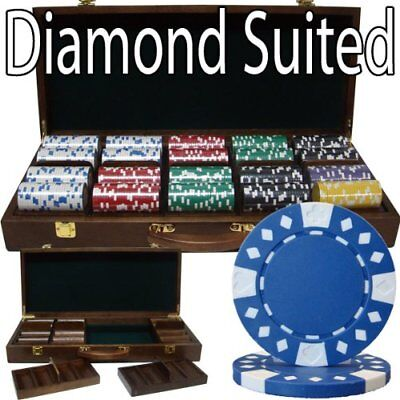 500ct. Diamond Suited 14g Poker Chip Set in Walnut Wooden Carry Case