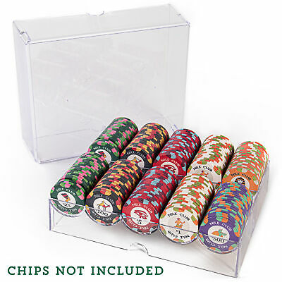 Clear Acrylic Poker Chip Tray with Lid, Holds 200 Chips
