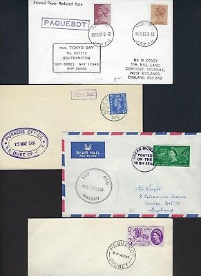 UK GB 1950s COLLECTION OF 8 PAQUEBOT POSTED ON THE HIGH SEAS COVER DIFFERENT POR