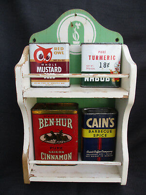 Vintage Wood Kitchen Spice Rack & Spice Tin Can: Red Owl, Ben-Hur, Nabob, Cains