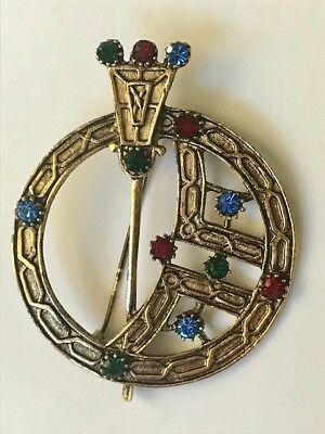 Vintage Kilt Pin Brooch 2 in Rhinestones Scottish Penannular Celtic Goldtone