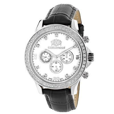 Luxurman Men's Liberty 2ct Black Leather Band with White Mother of Pearl Watch