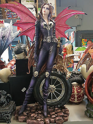 FAIRY VAMPIRE WITH TYRE ~ 58cms TALL ~ STATUE ORNAMENT DECOR ~ GREAT GIFT IDEA