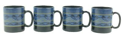 Arcoroc Yucatan Mugs Set of 4 Aztec Style Blue Black Gold Made in France