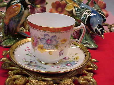 Royal Chelsea Blue Pink Yellow w/ Gold Band Bone China Tea Cup & Saucer England