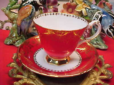 Royal Grafton Red & Gold Bone China Tea Cup & Saucer England