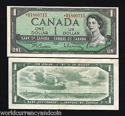 Canada 1 Dollar P75 B 1954 Young Queen Replacement Aunc Currency Money Bank Note