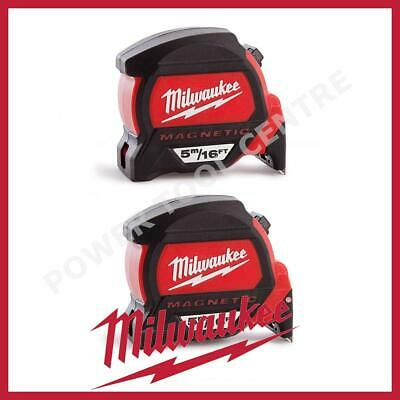 2x Milwaukee 4932459374 5m/16ft Magnetic Tape Measure w/ Finger Stop HP5-16MG/27