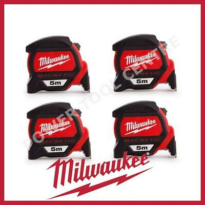 4x Milwaukee 4932459373 5m Magnetic Tape Measure with Finger Stop HP5MG/27