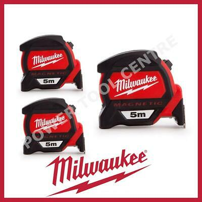 3x Milwaukee 4932459373 5m Magnetic Tape Measure with Finger Stop HP5MG/27