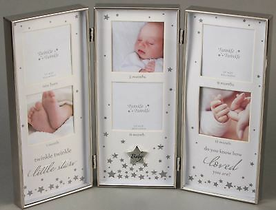 Twinkle Twinkle SILVER TRIPLE BABY PHOTO FRAME Newborn Christening Gift - New