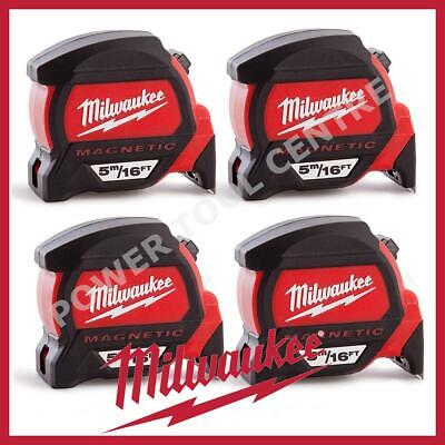 4x Milwaukee 4932459374 5m/16ft Magnetic Tape Measure w/ Finger Stop HP5-16MG/27