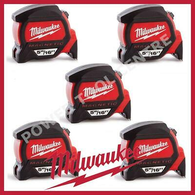 5x Milwaukee 4932459374 5m/16ft Magnetic Tape Measure w/ Finger Stop HP5-16MG/27
