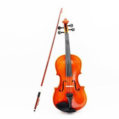 New 1/4 Size Natural Acoustic Violin Fiddle with Case Arbor Bow for 3-6 F9J1