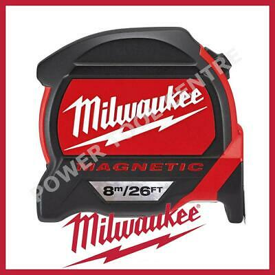 Milwaukee 4932464178 Pro Mag Tape 8m/26ft Tape Measure W/ Finger Stop Red Black