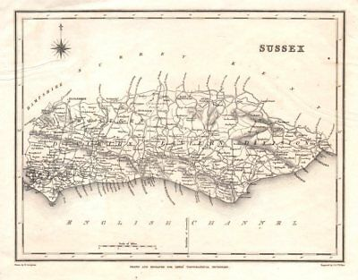 Antique county map of SUSSEX by Walker & Creighton for Lewis. Light crease c1840