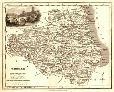 Antique county map of Durham by Archibald Fullarton c1833 old